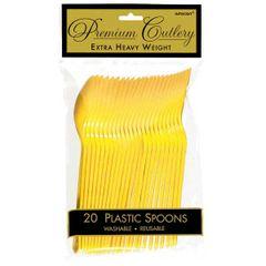 Yellow Sunshine Premium Heavy Weight Plastic Spoons 20ct