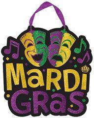 Glitter Comedy & Tragedy Mardi Gras Sign