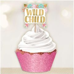 Boho Birthday Girl Cupcake Kit for 24