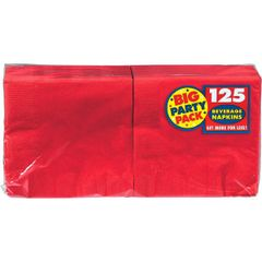 Apple Red Big Party Pack Beverage Napkins, 125ct