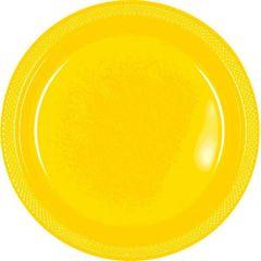 "Yellow Sunshine Plastic Plates, 10 1/4"""