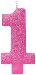 #1 Birthday Glitter Candle - Pink