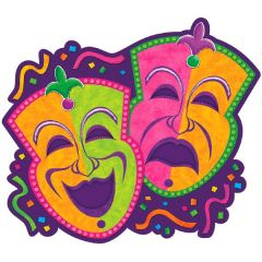 Mardi Gras Comedy & Tragedy Cutout 15in