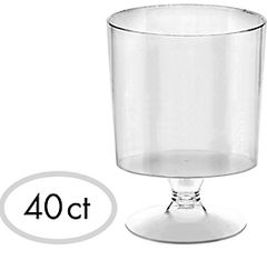 Tiny CLEAR Plastic Pedestal Cups, 40ct