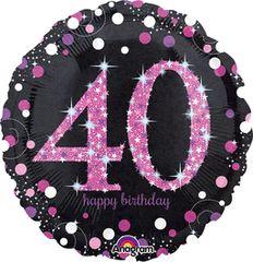 "Pink Sparkling 40th Birthday Celebration Balloon 18"""