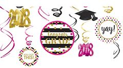 """2018"" Gold Confetti Grad 12 (pcs) Swirl Decorations"