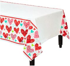 Heart Face Plastic Table Cover