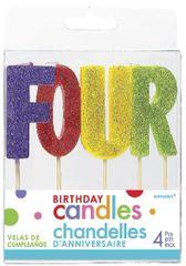 """04 """"F-O-U-R"""" Glitter Multi-Color Birthday Candles"""