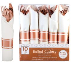Rolled Metallic Rose Gold Premium Plastic Cutlery Sets, 10ct