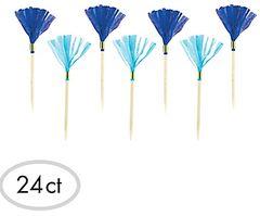 Blue & Light Blue Fringe Party Picks, 24ct