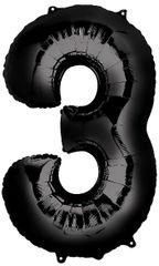 "34"" Black #3 Mylar Balloon"