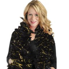 Black/Gold Hollywood Tinsel Feather Boa