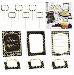 Black, Gold & Silver (12pcs) Buffet Decorating Kit