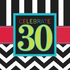 30th Celebration Beverage Napkins, 16ct