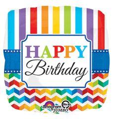 "Happy Birthday Stripes & Chevron Super Shape Balloon 28"""