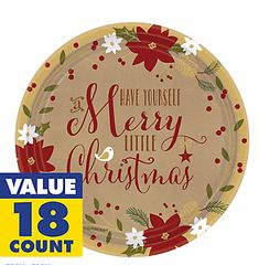 Merry Little Christmas Round Plates, 7""