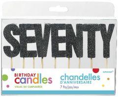 "70 ""S-E-V-E-N-T-Y"" Black Glitter Candles"