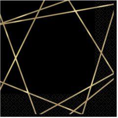 Black Metallic Gold Line Premium Beverage Napkins, 16ct