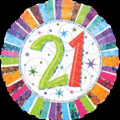 """Radiant 21st Birthday Balloon 18"""""""