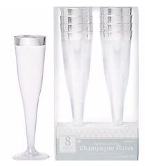 CLEAR Silver-Trimmed Premium Plastic Champagne Flutes, 5oz - 8ct