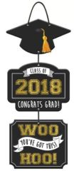 """2018"" Grad Triple Sign - Black, Silver, Gold"