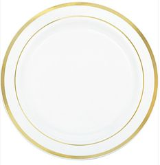 """White Premium Plastic Dinner Plates with Gold Trim, 10 1/4"""" - 10ct"""