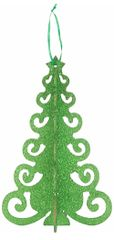 Green Glitter 3-D Tree Decoration