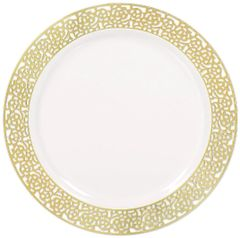 White Gold Lace Border Premium Plastic Lunch Plates, 20ct