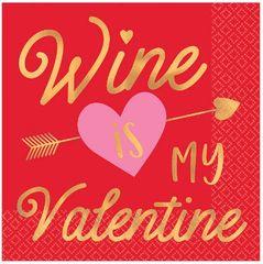 Wine is My Valentine Beverage Napkins, 16ct