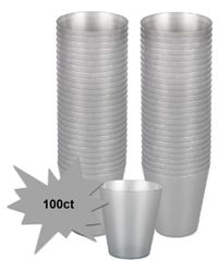 Big Party Pack Silver Plastic Shot Glasses, 100ct