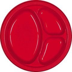 "Apple Red Divided Plastic Plates, 10 1/4"" - 20ct"
