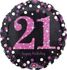 "Pink Sparkling 21st Birthday Celebration Balloon 18"""