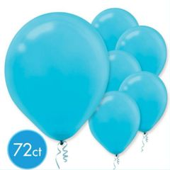 Caribbean Blue Solid Color Latex Balloons, 72ct