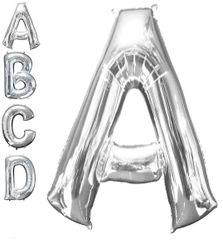 "Silver Letter A - 34"" Mylar Balloon"
