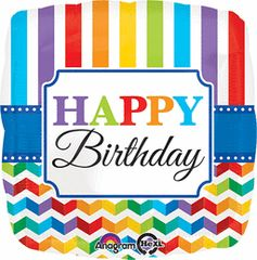 Happy Birthday Bright Stripe Chevron 18in