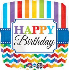 Happy Birthday Bright Stripe Chevron 18in