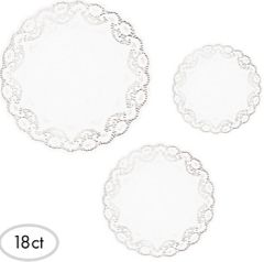 """White Round Doilies Assorted Sizes 8"""", 10"""", 12"""" - 18ct"""