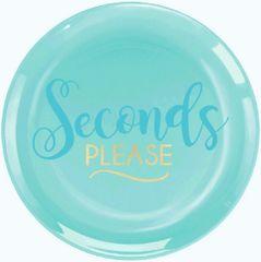 """""""Seconds Please"""" Premium Plastic Dessert Plates, 20ct"""