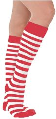 Adult's Red & White Striped Socks