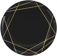 """Black Metallic Gold Line Premium Dinner Plates, 10 1/2"""" - 10ct"""