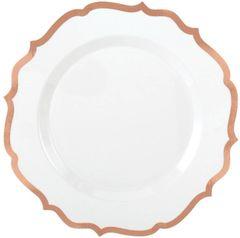 "White Rose Gold-Trimmed Ornate Premium Dessert Plates, 7 3/4"" - 20ct"