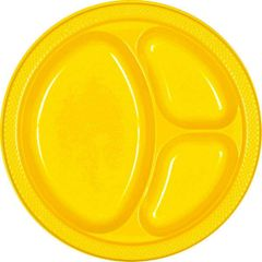 "Yellow Sunshine Divided Plastic Plates, 10 1/4"""