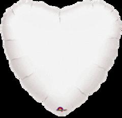 Heart 02 Metallic White Mylar Balloon 18in