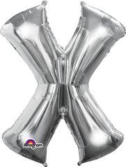"Silver Letter X - 34"" Mylar"