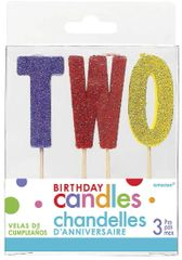 "02 ""T-W-O"" Glitter Multi-Color Birthday Candles"