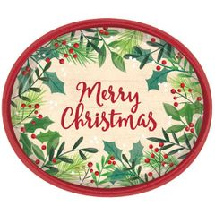 Merry Holly Day Oval Plates, 12""