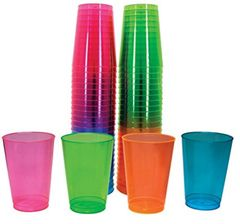 Neon Assorted Plastic Tumblers, 10 oz.