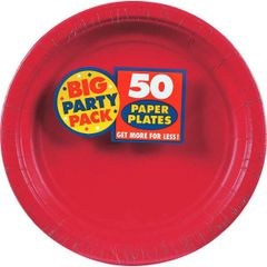 "Apple Red Big Party Pack Paper Plates, 9"" - 50ct"