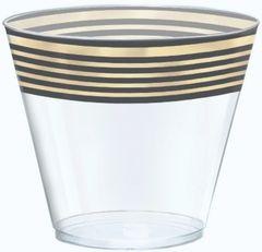 Black & Metallic Gold Stripe Premium Tumblers, 9oz - 24ct