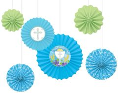 Blue First Communion Paper Fan Decorations, 6ct